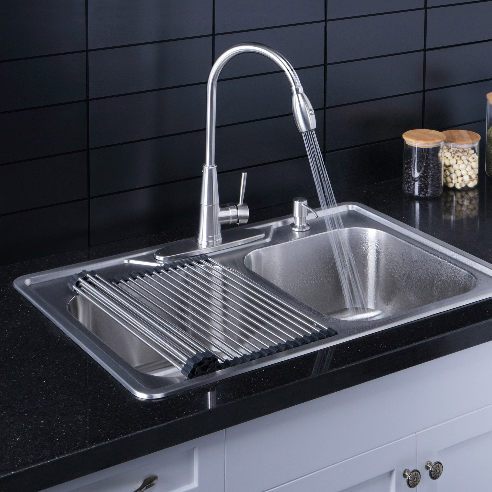 Afa Stainless 33 Handmade Single Bowl Kitchen Sink Faucet Combo